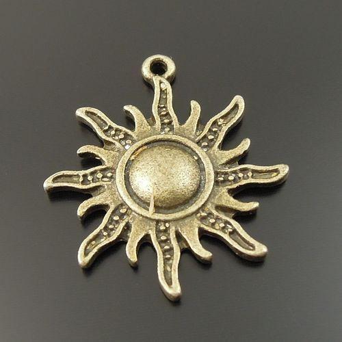 20pcs Antiqued Bronze Vintage Alloy Sun Fire Burn Pendant Charms 33320