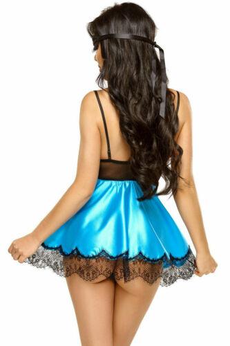 Satin Nuit Robe Turquoise//Noir Dentelle Masque lingerie robe lingerie de nuit S//M L//XL