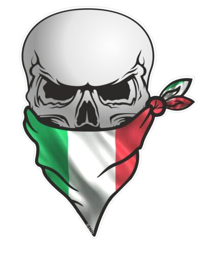 Skull With Face BANDANA /& Italian il Tricolore Italy Flag vinyl car sticker