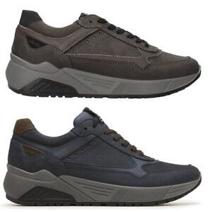 IGI-amp-CO-scarpe-uomo-sneakers-pelle-camoscio-stringhe-zeppa-nero-grigio-casual