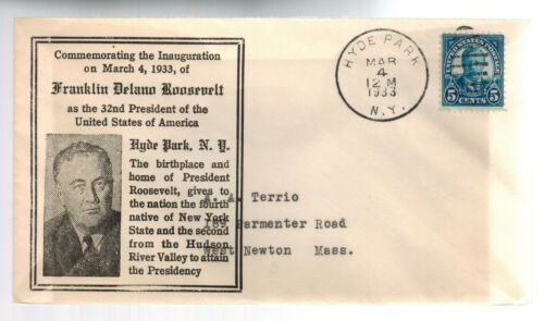 1933 President Franklin D Roosevelt FDR Inauguration cover Hyde Park NY USA