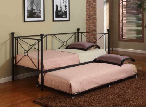 Texture Black Metal Twin Size Day Bed Daybed Frame With Rails Trundle