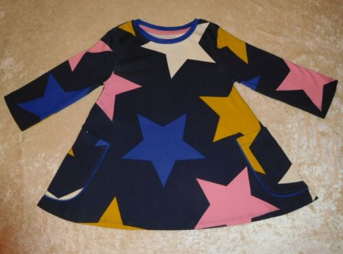 MINI BODEN GIRLS NAVY BLUE MULTI BIG STAR SWING TUNIC DRESS SIZE 2-12 YEARS NEW