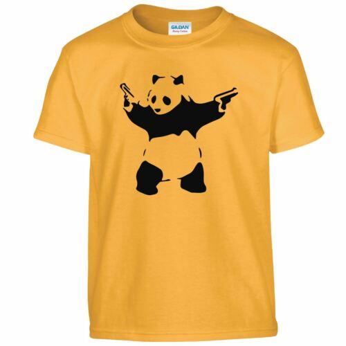Banksy Panda Kids T-shirt Graffiti Hipster Swag Top Bear With Guns Tee Gift