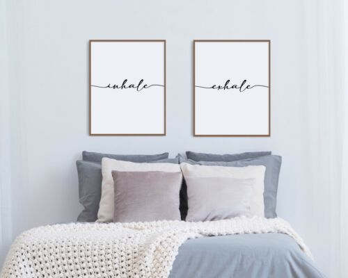 Quote Print Inhale Exhale Print Set Wall Art Bedroom Print