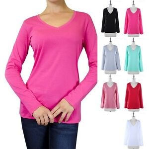 Womens-Basic-Solid-Long-Sleeve-V-Neck-T-Shirt-Top-Casual-Cotton-S-M-L