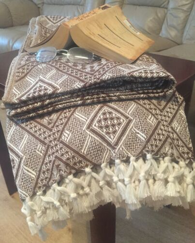 Fair Trade 100/% Cotton Throw Blanket Bed Sofa Tasseled Recycled Small Large XL