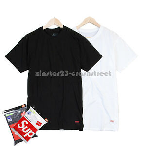 Supreme//Hanes tagless Tee Black White Size S-XL100/% Authentic Box Logo