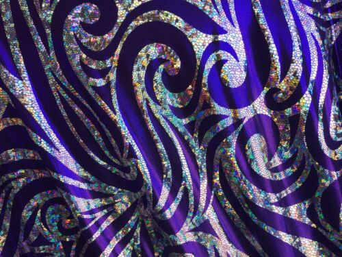 sold by the yard . Purple Psychedelic Hologram Design 2 Way stretch Spandex