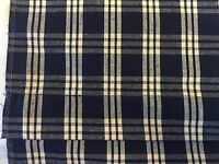 Country Curtains Navy Blue & Cream Homespun Plaid Lined Shade 34 In X 72 In
