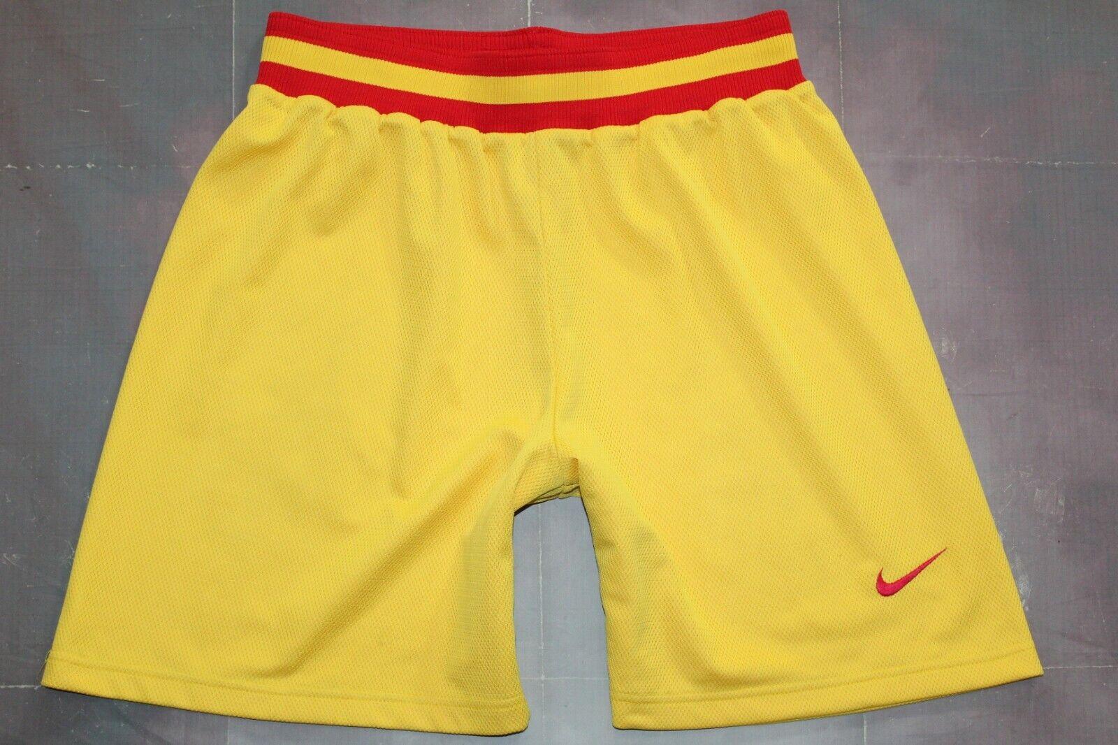 Logotipo de Nike años 90 Vintage Embroidered Swoosh Amarillo Baloncesto Pantalones Cortos, Retro, Tamaño: XL