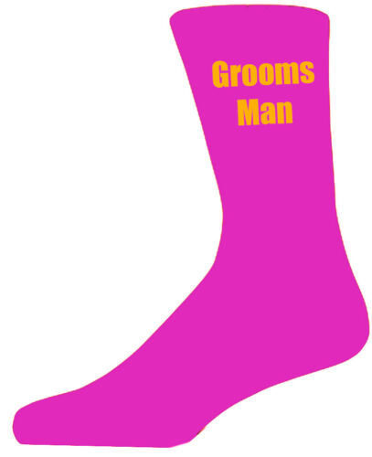 Hot Pink Luxury Cotton Rich Wedding Socks With Yellow Text,Groom Best Man,Usher