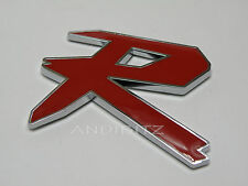3D RED CHROME R BADGE CAR to fit FORD VAUXHALL AUDI VW HONDA TYPE LOGO STICKER