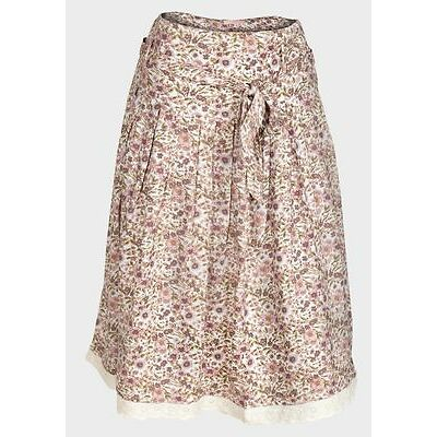Women A-line Shape Knee Length Floral Print Self-tie Pink Skirt 8 10 12 14 16