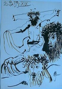 Picasso-Toros-Y-Toreros-1961-B-amp-W-Paint-Lithograph-Print-Jesus-Limited-Edition