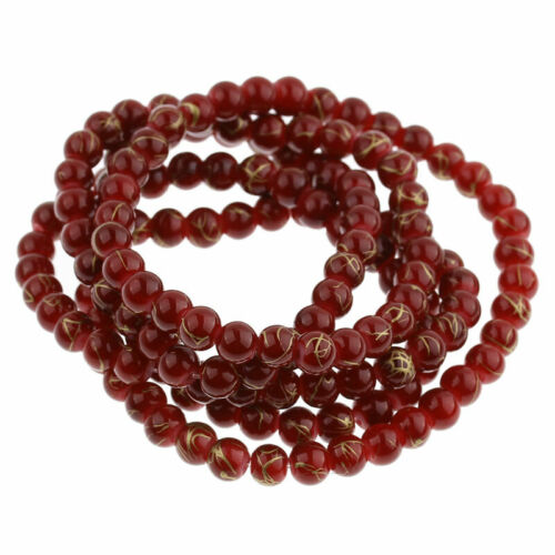 140 Red and touch of Gold Glass Drawbench Beads 6mm Ideal for Jewellery Making