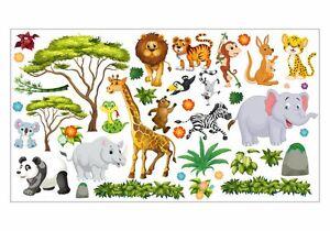 Nikima 060 Wandtattoo Dschungel Tiere Lowe Elefant Giraffe