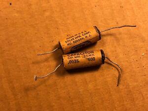 Qt 2 NOS Sprague Black Beauty .0047 uf 600v Capacitors Vintage Guitar Tone Caps