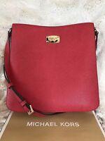 Michael Kors Leather Jet Set Travel Large Messenger Crossbody Bag In Red