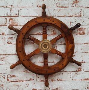 Steuerrad-Antik-30cm-Schiffsrad-Schiffsteuerrad-Schiff-Piraten-Boot-Holz-Deko