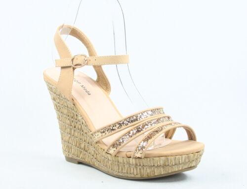 Women/'s Cute Open Toe Buckle Strappy Wedge Heel Sandal Shoes Size 6-10 NEW