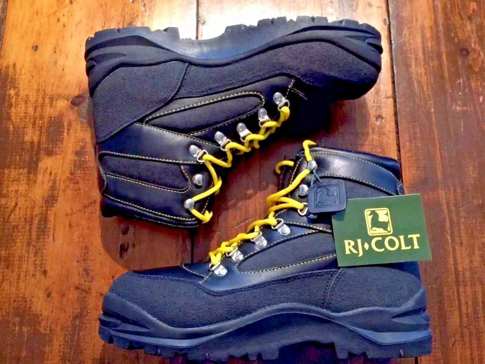 Deadstock RJ Colt Yosemite botas De Cuero Negro Nuevo en Caja de tamaño 11