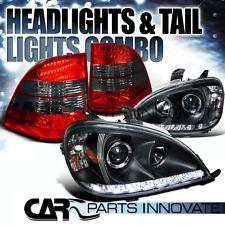 98-01 Benz W163 ML320 ML430 ML55 AMG Black LED DRL Projector Headlight+Tail Lamp
