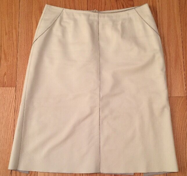 Kenneth Cole Women's Knee Length Leather Skirt. Lined. Beige. Size 4. Beautiful.