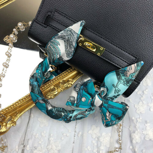 Elegant Horse Blue Silk Skinny Twilly Scarf Long Ribbon Hair Handbag Wrap Gift