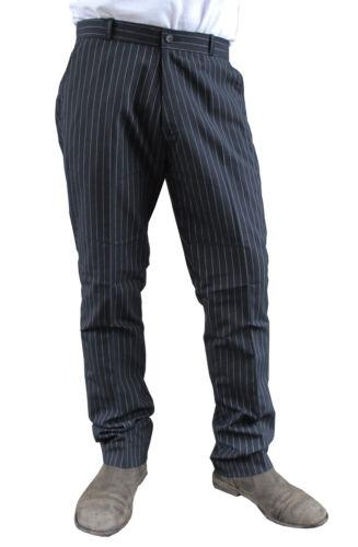 Mens Black White Pinstripe Sta Prest Stay Pressed Retro Check MOD Trouser