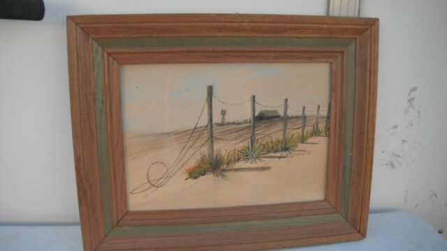 signed watercolor painting,orig,barbed wire,fence line,windmill/farm/ranch,1974
