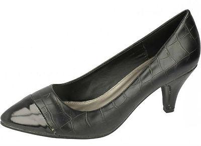 f9735- Damen SpotOn Hof Schuhe- Krokoprägung 2 Farben; navy&black