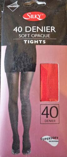 "Ladies 40 Denier Tights /""Silky/"" Black Medium Large Red Soft Opaque Microfibre"