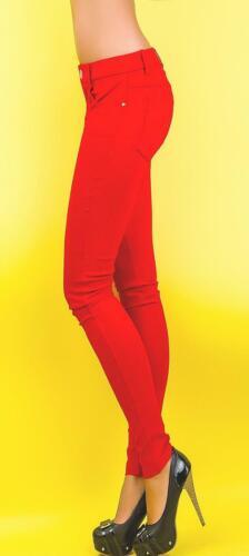 Damen HOSE rot SKINNY 5-POCKET Stretch RÖHREN Slim JEGGING Jeans STRASS XS S M L