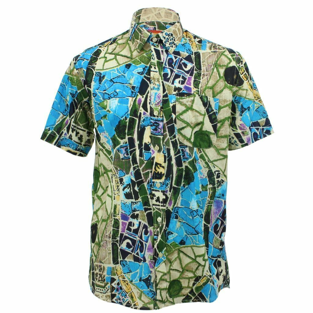 Mens Loud Shirt Retro Psychedelic Funky Party REGULAR Short Sleeve Mosaic     | Großartig  | Tadellos  | Primäre Qualität