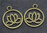 8/40/200pcs Antique Silver Exquisite Lotus Jewelry Finding Charm Pendant 24x20mm