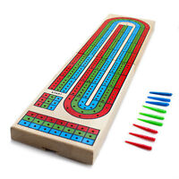 Wooden 3 Track Cribbage Board Colorful Wood Game + Standard Card Deck