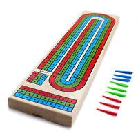 Wooden 3 Track Cribbage Board Colorful Wood Game + Standard Card Deck