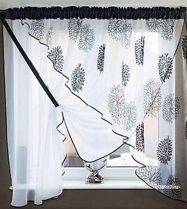 Image Is Loading Modern Black Brown Floral Set Of Voile Net