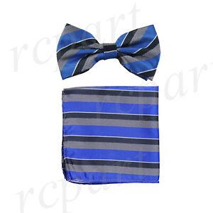 New Men Pre-tied Bow tie & hankie set Formal royal blue gray stripes striped