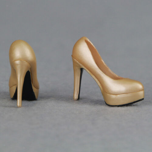 1//6 Female Shoes Gold Stiletto High Heels for Hot Toys Sideshow Figures