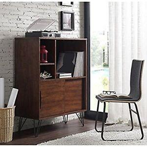 Image Is Loading Console Bookshelf Bookcase Mid Century Media Storage Cabinet