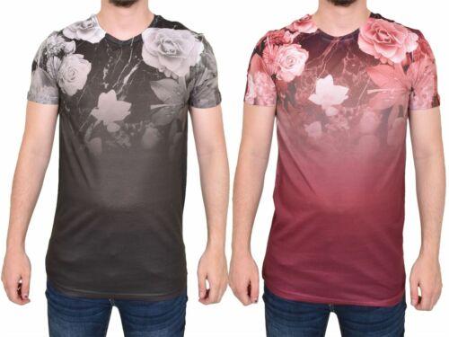 Hommes Délavé T-shirt Floral Imprimé à manches courtes col rond chemise été Tee S-2XL