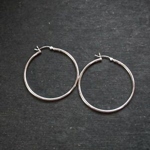 84c1a3dc44979 Details about New 14k White Gold on 925 Sterling Silver Thin Reflective  Hoop Earrings- 40mm