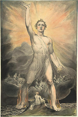 William Blake Casting Rebel Angels Into Hell Painting Fine Art Real Canvas Print