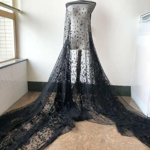 Black Beaded Bridal Dress Fabric Floral Embroidery Wedding DIY Lace Fabric 0.5 M