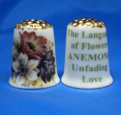 Poppy Birchcroft China Thimble Language of Flowers Free Dome Box