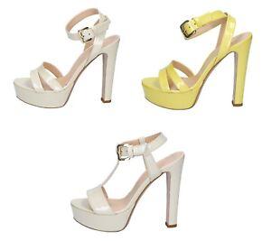 c231cc15b4cc4 MI AMOR sandali zeppe donna in vernice color Beige e Giallo