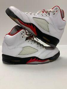 7793f2f0d01f40 Nike Air Jordan Retro V 5 Fire Red White Black Size 9 136027-100 ...