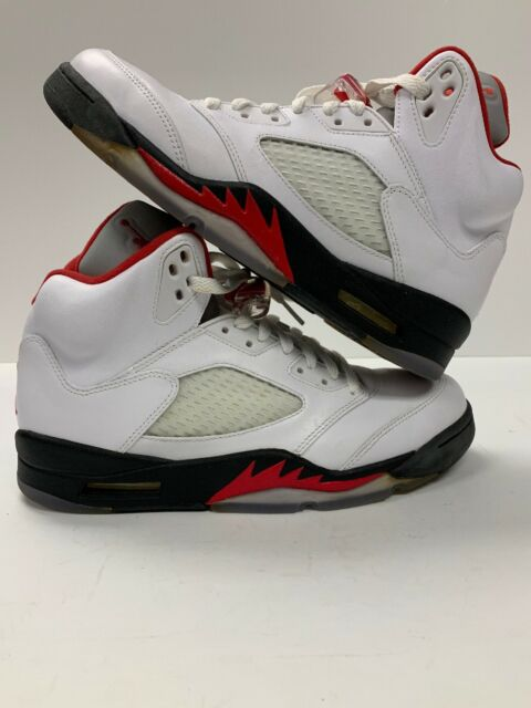 355434a4450d Nike Air Jordan Retro V 5 Fire Red White Black Size 9 136027-100